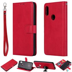 Retro Greek Detachable Magnetic PU Leather Wallet Phone Case for Mi Xiaomi Redmi Note 6 Pro - Red