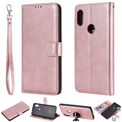 Retro Greek Detachable Magnetic PU Leather Wallet Phone Case for Mi Xiaomi Redmi Note 6 Pro - Rose Gold