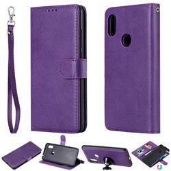 Retro Greek Detachable Magnetic PU Leather Wallet Phone Case for Mi Xiaomi Redmi Note 6 Pro - Purple