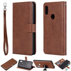 Retro Greek Detachable Magnetic PU Leather Wallet Phone Case for Mi Xiaomi Redmi Note 6 Pro - Brown