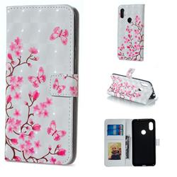 Butterfly Sakura Flower 3D Painted Leather Phone Wallet Case for Mi Xiaomi Redmi Note 6 Pro