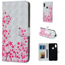 Cherry Blossom 3D Painted Leather Phone Wallet Case for Mi Xiaomi Redmi Note 6 Pro