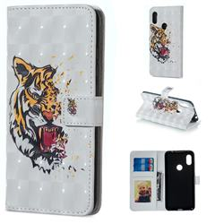 Toothed Tiger 3D Painted Leather Phone Wallet Case for Mi Xiaomi Redmi Note 6 Pro