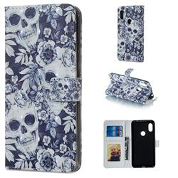 Skull Flower 3D Painted Leather Phone Wallet Case for Mi Xiaomi Redmi Note 6 Pro