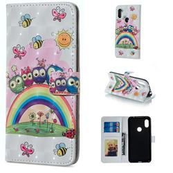 Rainbow Owl Family 3D Painted Leather Phone Wallet Case for Mi Xiaomi Redmi Note 6 Pro