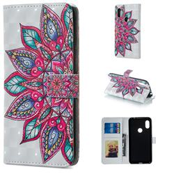 Mandara Flower 3D Painted Leather Phone Wallet Case for Mi Xiaomi Redmi Note 6 Pro