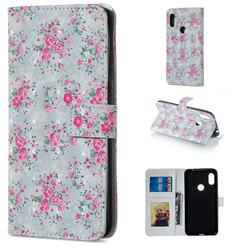 Roses Flower 3D Painted Leather Phone Wallet Case for Mi Xiaomi Redmi Note 6 Pro