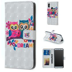 Couple Owl 3D Painted Leather Phone Wallet Case for Mi Xiaomi Redmi Note 6 Pro