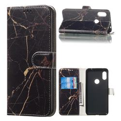Black Gold Marble PU Leather Wallet Case for Mi Xiaomi Redmi Note 6 Pro