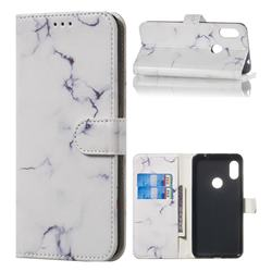 Soft White Marble PU Leather Wallet Case for Mi Xiaomi Redmi Note 6 Pro