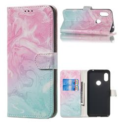 Pink Green Marble PU Leather Wallet Case for Mi Xiaomi Redmi Note 6 Pro