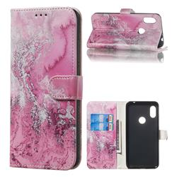 Pink Seawater PU Leather Wallet Case for Mi Xiaomi Redmi Note 6 Pro