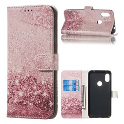 Glittering Rose Gold PU Leather Wallet Case for Mi Xiaomi Redmi Note 6 Pro