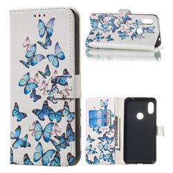Blue Vivid Butterflies PU Leather Wallet Case for Mi Xiaomi Redmi Note 6 Pro
