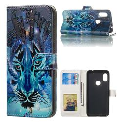 Ice Wolf 3D Relief Oil PU Leather Wallet Case for Mi Xiaomi Redmi Note 6 Pro