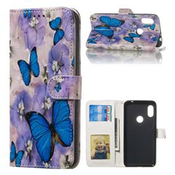 Purple Flowers Butterfly 3D Relief Oil PU Leather Wallet Case for Mi Xiaomi Redmi Note 6 Pro