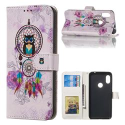 Wind Chimes Owl 3D Relief Oil PU Leather Wallet Case for Mi Xiaomi Redmi Note 6 Pro