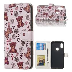 Cute Bear 3D Relief Oil PU Leather Wallet Case for Mi Xiaomi Redmi Note 6 Pro