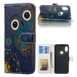 Folk Owl 3D Relief Oil PU Leather Wallet Case for Mi Xiaomi Redmi Note 6 Pro