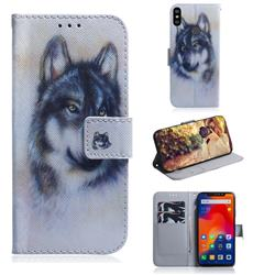Snow Wolf PU Leather Wallet Case for Mi Xiaomi Redmi Note 6 Pro