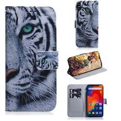 White Tiger PU Leather Wallet Case for Mi Xiaomi Redmi Note 6 Pro