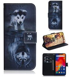 Wolf and Dog PU Leather Wallet Case for Mi Xiaomi Redmi Note 6 Pro