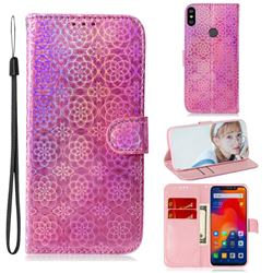 Laser Circle Shining Leather Wallet Phone Case for Mi Xiaomi Redmi Note 6 Pro - Pink