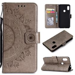 Intricate Embossing Datura Leather Wallet Case for Mi Xiaomi Redmi Note 6 Pro - Gray