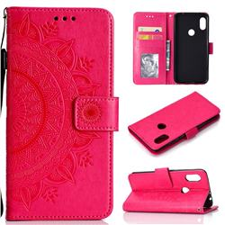 Intricate Embossing Datura Leather Wallet Case for Mi Xiaomi Redmi Note 6 Pro - Rose Red