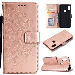 Intricate Embossing Datura Leather Wallet Case for Mi Xiaomi Redmi Note 6 Pro - Rose Gold