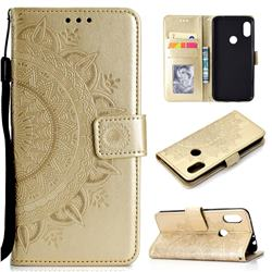 Intricate Embossing Datura Leather Wallet Case for Mi Xiaomi Redmi Note 6 Pro - Golden