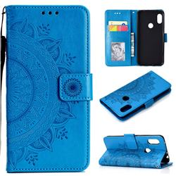 Intricate Embossing Datura Leather Wallet Case for Mi Xiaomi Redmi Note 6 Pro - Blue