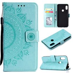 Intricate Embossing Datura Leather Wallet Case for Mi Xiaomi Redmi Note 6 Pro - Mint Green