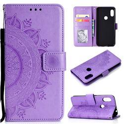 Intricate Embossing Datura Leather Wallet Case for Mi Xiaomi Redmi Note 6 Pro - Purple