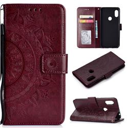 Intricate Embossing Datura Leather Wallet Case for Mi Xiaomi Redmi Note 6 Pro - Brown