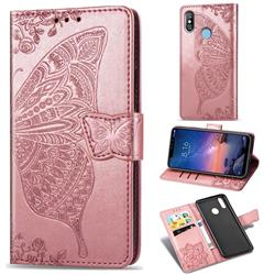 Embossing Mandala Flower Butterfly Leather Wallet Case for Mi Xiaomi Redmi Note 6 Pro - Rose Gold