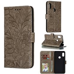 Intricate Embossing Lace Jasmine Flower Leather Wallet Case for Mi Xiaomi Redmi Note 6 Pro - Gray