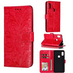 Intricate Embossing Lace Jasmine Flower Leather Wallet Case for Mi Xiaomi Redmi Note 6 Pro - Red