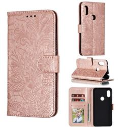 Intricate Embossing Lace Jasmine Flower Leather Wallet Case for Mi Xiaomi Redmi Note 6 Pro - Rose Gold