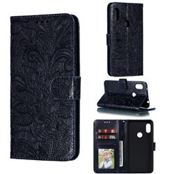 Intricate Embossing Lace Jasmine Flower Leather Wallet Case for Mi Xiaomi Redmi Note 6 Pro - Dark Blue