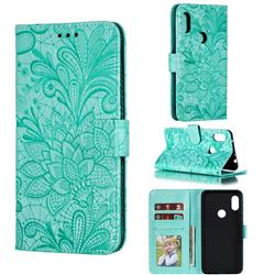 Intricate Embossing Lace Jasmine Flower Leather Wallet Case for Mi Xiaomi Redmi Note 6 Pro - Green