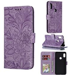 Intricate Embossing Lace Jasmine Flower Leather Wallet Case for Mi Xiaomi Redmi Note 6 Pro - Purple