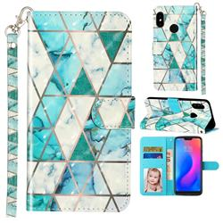 Stitching Marble 3D Leather Phone Holster Wallet Case for Mi Xiaomi Redmi Note 6 Pro