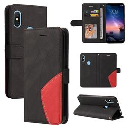 Luxury Two-color Stitching Leather Wallet Case Cover for Mi Xiaomi Redmi Note 6 Pro - Black