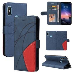 Luxury Two-color Stitching Leather Wallet Case Cover for Mi Xiaomi Redmi Note 6 Pro - Blue
