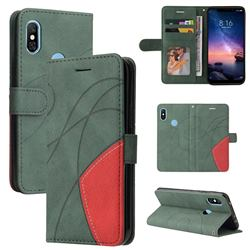 Luxury Two-color Stitching Leather Wallet Case Cover for Mi Xiaomi Redmi Note 6 Pro - Green