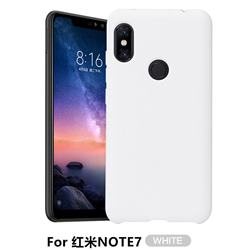 Howmak Slim Liquid Silicone Rubber Shockproof Phone Case Cover for Xiaomi Mi Redmi Note 7 / Note 7 Pro - White