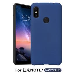 Howmak Slim Liquid Silicone Rubber Shockproof Phone Case Cover for Xiaomi Mi Redmi Note 7 / Note 7 Pro - Midnight Blue