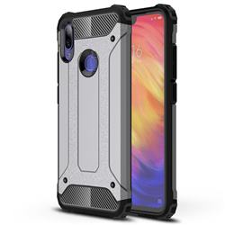 King Kong Armor Premium Shockproof Dual Layer Rugged Hard Cover for Xiaomi Mi Redmi Note 7 / Note 7 Pro - Silver Grey