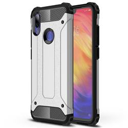 King Kong Armor Premium Shockproof Dual Layer Rugged Hard Cover for Xiaomi Mi Redmi Note 7 / Note 7 Pro - Technology Silver